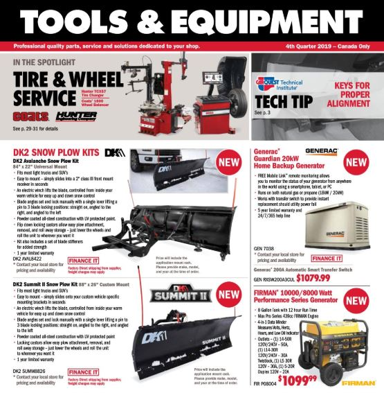 Tool and Equipment Flyer - Sept 26 - Dec 28, 2019