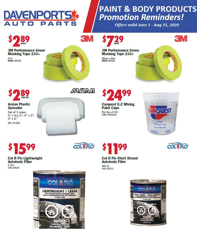 Davenports Paint, Body & Equipment Specials!